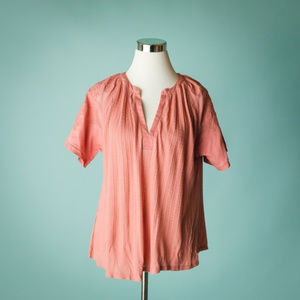 Lucky Brand M Peach Embroidered Linen Blend Top